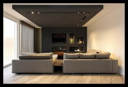 zithoek-kastenwand-open haard-TV-kastplafond-lichtplan-kleurenplan